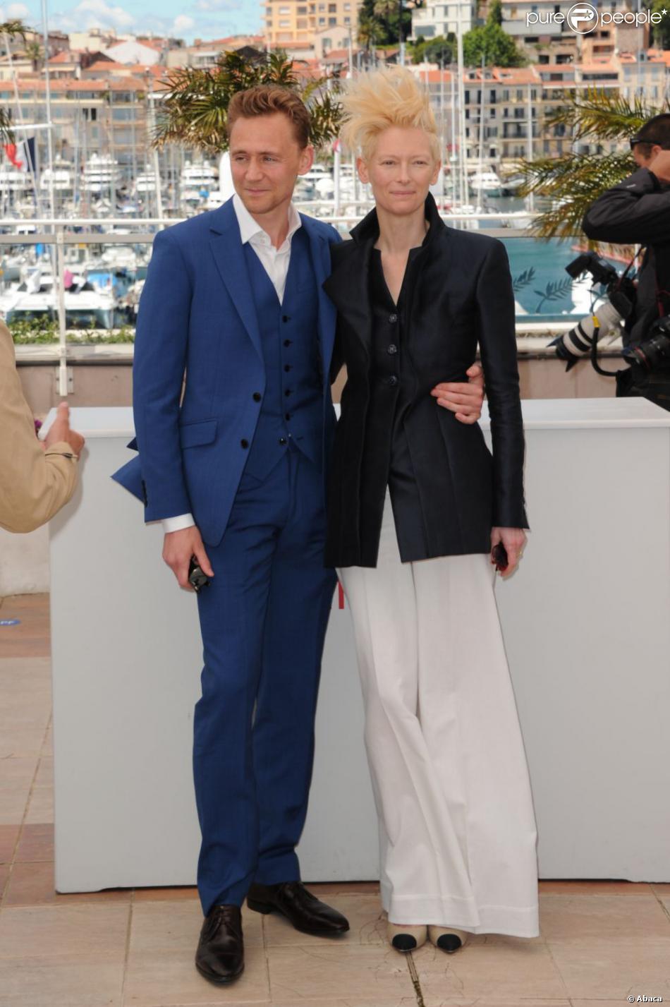 Tom Hiddleston et Tilda Swinton lors de la conférence de presse du film Only Lovers Left Alive au Festival de Cannes le 25 mai 2013