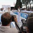 Les compagnes des pilotes de F1 lors du Amber Lounge Fashion Show à Monaco au Méeridien Beach Plaza le 24 mai 2013