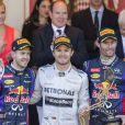 Sebastian Vettel, Nico Rosberg et Mark Webber à leur arrivé au Grand Prix de Monaco le 26 mai 2013