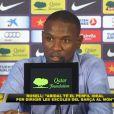 ÉricAbidal annonce son départ du FC Barcelone lors d'une conférence de presse le 30 mai 2013.