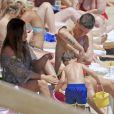 Fernando Torres en vacances à Ibiza avec sa femme Olalla et leurs deux enfants Nora (3 ans) et Leo (2 ans).