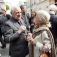Pierre Bergé et la Baronne Hélène de Ludinghausen, ancienne directrice de la Haute Couture chez YSL -  Inauguration de la plaque à la mémoire d'Yves Saint  Laurent  apposée sur la façade du 55, rue de  Babylone , à Paris le 1er juin 2013.