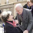 Pierre Berge et Anne-Marie Minoz, plus ancienne collaboratrice d'Yves -  Inauguration de la plaque à la mémoire d'Yves Saint  Laurent  apposée sur la façade du 55, rue de  Babylone , à Paris le 1er juin 2013.