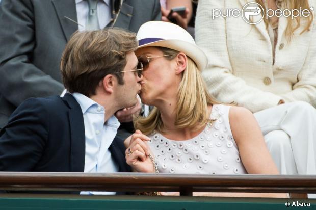 Laurence Ferrari, Renaud Capuçon lors du 8e jour des Internationaux de France à Roland-Garros le 2 juin 2013