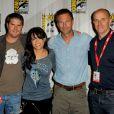 Neil Moritz (à droite), au côté de Jonathan Liebesman, Michelle Rodriguez et Aaron Eckhart pour la promotion de Battle Los Angeles au Comic-Con de San Diego, le 22 juillet 2010.