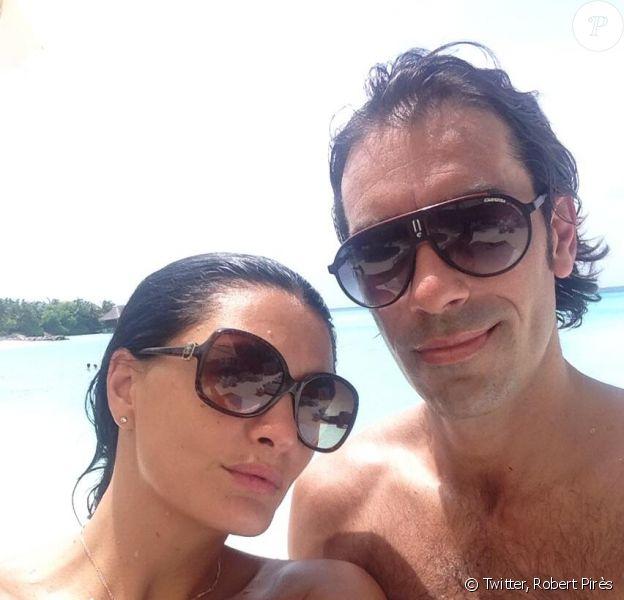 Robert Pirès et sa femme Jessica, en voyage de noces aux Maldives après s'être dit oui le 7 juin 2013 à Paris
