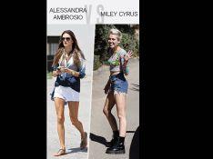 Alessandra Ambrosio/Miley Cyrus : Qui porte le mieux le short en jean ?