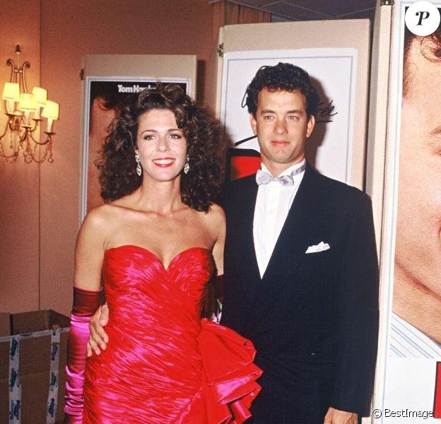 Tom Hanks, avec sa femme Rita Wilson, présentent Big lors du Festival de Deauville en 1988