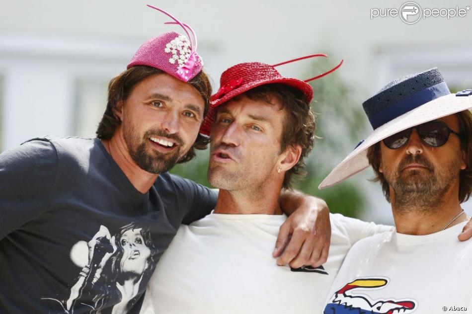 Goran Ivanisevic, Pat Cash et Henri Leconte se sont incrustés lors d'un défilé organisé à l'occasion du BNP Paribas Tennis Classic qui se déroule au très sélect club de Hurlingham de Londres le 19 juin 2013