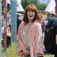 Florence Welch tout joyeuse au festival Glastonbury à Worthy Farm, Angleterre, le 28 juin 2013.