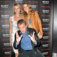 Sylvie Tellier et Sophie Thalmann avec Christophe Dechavanne déchaîné à la soirée Sony Style à la boutique Sony (39 avenue George V), à Paris le 2 juillet 2013.