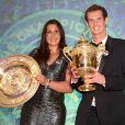 Andy Murray et Marion Bartoli, duo vainqueur de Wimbledon lors du dîner des champions qui se tenait à l'hôtel INtercontinental de Londres le 7 juillet 2013