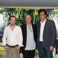 Mathieu Amalric, Arnaud Desplechin, Benicio Del Toro lors de la présentation du film Jimmy P. à Paris le 8 juillet 2013