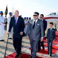 Le roi Juan Carlos Ier d'Espagne est arrivé en fin d'après-midi à Rabat le 15 juillet 2013 pour une visite officielle de trois jours, accueilli par le roi Mohamed VI et son fils le prince héritier Moulay El Hassan.