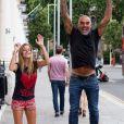 Exclusif - Christian Audigier et sa fiancée Nathalie Sorensen à Londres, le 5 août 2013.