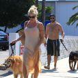 Pamela Anderson promène ses chiens en compagnie de son ex-mari Rick Salomon à Los Angeles le 5 juillet 2013.