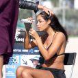 Nabilla et Shauna Sand sur le tournage d'Hollywood Girls 3, à Venice Beach, le 16 août 2013