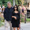 Alec Baldwin et sa femme Hilaria Thomas (enceinte) promènent leurs chiens à New York, le 16 août 2013.