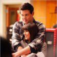 Cory Monteith et Lea Michele sur le tournage de Glee.