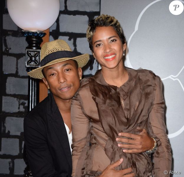 Pharrell Williams et sa compagne Helen Lasichanh aux MTV Video Music Awards 2013.
