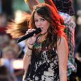 Miley Cyrus en concert au Today Show, à New York, le 25 juillet 2008.