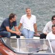Exclusif - George Clooney et son ami Rande Gerber passent du bon temps en vacances, en balade en mer et détente chez Bono sur la côte d'Azur, à la villa d'Eze, le 19 août 2013.