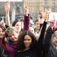 Thandie Newton lors d'une manifestation pour le One Billion Rising à Londres le 14 février 2013