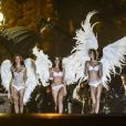 Karlie Kloss, Lily Aldridge et Adriana Lima sur le shooting des anges de Victoria's Secret, place de la Concorde et sur le pont Alexandre III à Paris, le 18 septembre 2013.
