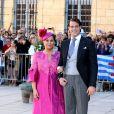 """""""La grande-duchesse Maria Teresa de Luxembourg et son fils le prince Felix - Arrivées des invités au mariage du prince Felix de Luxembourg et de la princesse Claire en la basilique Sainte Marie-Madeleine de Saint-Maximin-La-Sainte-Baume, le 21 septembre 2013."""""""