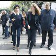 Rachida Dati et Nathalie Kosciusko-Morizet lors d'une sortie dans le VIIe arrondissement de Paris au pied de la Tour Eiffel dans le cadre de la campagne électorale pour la mairie de Paris, le 19 septembre 2013