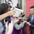 """Chris Colfer fait la promo du film """"Sturck"""" lors de l'ouverture du Festival du film Champs-Elysées 2013 au cinéma Publicis à Paris, le 12 juin 2013."""