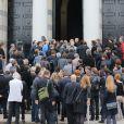 La sortie lors des obsèques de Gilles Verlant au cimetière du Père-Lachaise, le 4 octobre 2013 à Paris