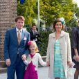 Le prince Pieter-Christiaan et la princesse Anita avec leur fille Emma au mariage du prince Jaime de Bourbon-Parme et Viktoria Cservenyak, le 5 octobre 2013 en l'église Notre-Dame de l'Assomption à Apeldoorn (centre des Pays-Bas).