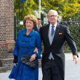 La princesse Margriet et Pieter van Vollenhoven au mariage du prince Jaime de Bourbon-Parme et Viktoria Cservenyak, le 5 octobre 2013 en l'église Notre-Dame de l'Assomption à Apeldoorn (centre des Pays-Bas).