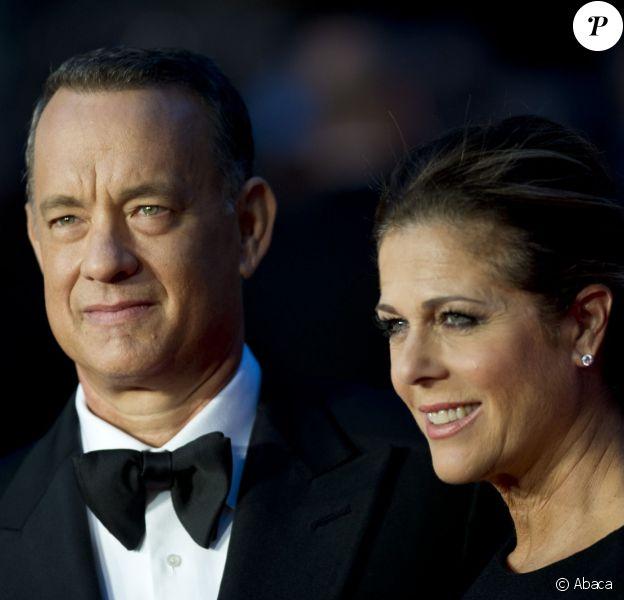 Tom Hanks et sa femme Rita Wilson à l'ouverture du 57e BFI London Film Festival à l'Odeon Cinema, Leicester Square, Londres, le 9 octobre 2013.