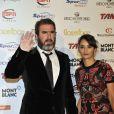 Eric Cantona et sa femme Rachida Brakni lors de la cérémonie du Golden Foot Award à Monaco, le 17 Avril 2012