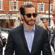 Jake Gyllenhaal arrive aux studios de la BBC Radio 2 à Londres. Le 23 septembre 2013.