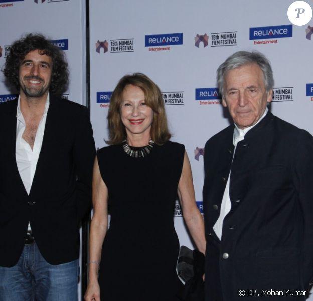 Guillaume Brac, Nathalie Baye et Costa-Gavras lors de la soirée d'ouverture du 17 octobre 2013 du 15e Festival du Film de Mumbai (Bombay) qui se tient en Inde jusqu'au 24 octobre 2013
