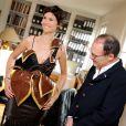 ÉglantineÉméyé essaie sa robe pour le défilé du Salon du chocolat qui aura lieu le 29 octobre à Paris. Le 15 octobre 2013. Cette création a été conçue par le chocloatier Jean-PaulHévin et la styliste Maria Boyarovskaya.
