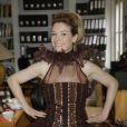 EXCLUSIF. Louise Ekland essaye sa robe pour le defile du Salon du Chocolat qui aura lieu le 29 octobre a Paris. Fait a Paris, France le 27 octobre 2013. Credit :