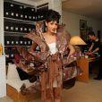 EXCLUSIF. Josephine Jobert essaye sa robe pour le defile du Salon du Chocolat qui aura lieu le 29 octobre a Paris. Fait a Paris, France le 25 octobre 2013.