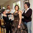 EXCLUSIF. Marion Bartoli essaye sa robe pour le defile du Salon du Chocolat qui aura lieu le 29 octobre a Paris. Fait a Paris, France le 25 octobre 2013.