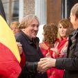 Le mythique acteur Gérard Depardieu donne le depart du rallye de Condroz à Huy en Belgique, le 1er novembre 2013.