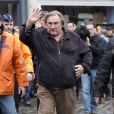 L'acteur Gérard Depardieu a donné le depart du rallye de Condroz à Huy en Belgique, le 1er novembre 2013.