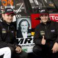 La team de Gérard Depardieu composée du pilote Corse Loic Mattei et du co-pilote Tony Barichella engages sur une Mitsubishi lors du rallye de Condroz à Huy, en Belgique, le 1er novembre 2013.