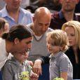 Zlatan Ibrahimovic, papa attentif avec sa femme Helena Seger et leurs deux fils Maximilian, 7 ans, et Vincent, 5 ans, assistaient le 2 novembre 2013 à la demi-finale entre Novak Djokovic et Roger Federer au BNP Paribas Masters de Paris-Bercy.