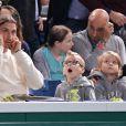 Zlatan Ibrahimovic, sa femme Helena et leurs fils Maximilian (7 ans) et Vincent (5 ans) assistaient en famille à la demi-finale Djokovic-Federer au Masters de Paris-Bercy le 2 novembre 2013