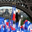 Nicolas Sarkozy en campagne du Trocadéro à Paris, le 1er mai 2012.