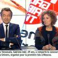 """Nabilla dans """"La semaine des médias"""" au côté de Michel Denisot et Mireille Darc sur i>Télé. Dimanche 10 novembre 2013."""