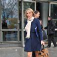 Exclusif - Sylvie Tellier (enceinte) et les candidates Miss France 2014 à la sortie de TF1 le 14 novembre 2013 à Paris.